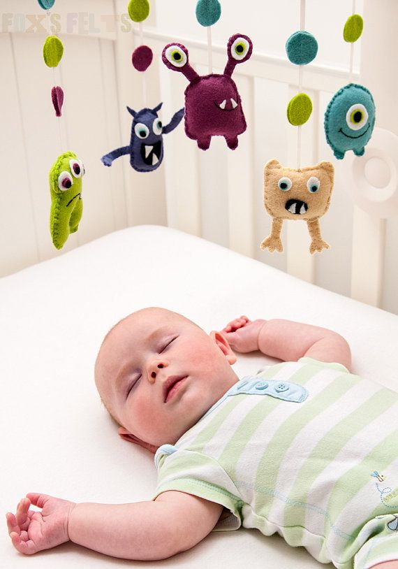 Felt Monsters Mobile, Nursery Mobile, Baby Crib/Cot Mobile, Childrens Decor.