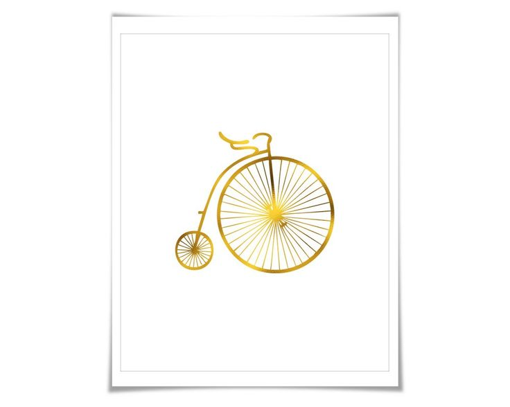 Vintage Bicycle Art Print Gold Foil Art Print. 7 Foil Colours/3 Sizes. Retro Antique Bike Poster. Cycling Cyclist. A shiny vintage bicycle art print made with real gold foil... ** You can choose from seven different foil colours: gold, silver, copper, rose gold, pale pink, hot pink and blue. Please see the second image for the different colours. When you place your order, simply use the drop down menu on the order page to choose which foil colour you would like. ** If you want multiple...