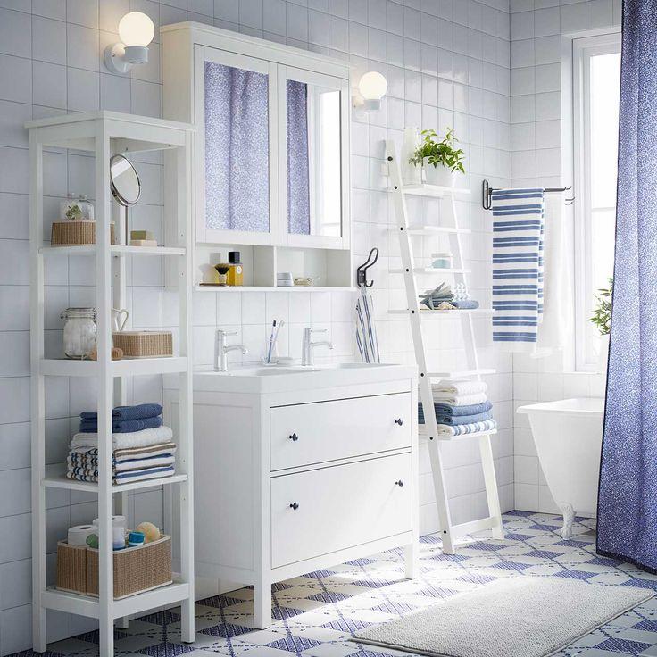 A white bathroom with HEMNES washstand shelf