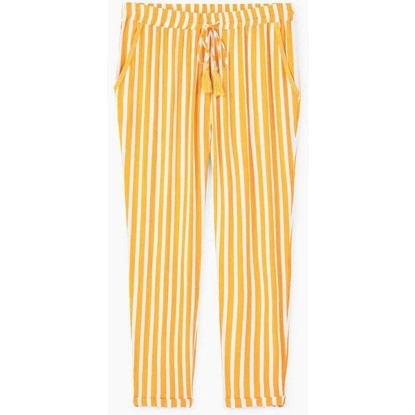 Flowy Trousers ($21) ❤ liked on Polyvore featuring pants, long trousers, mango trousers, striped trousers, stripe pants and elastic waist pants