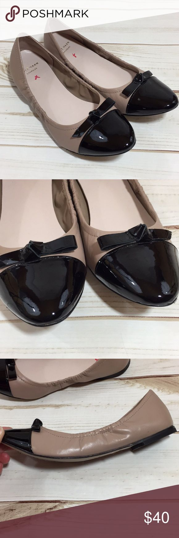 Cole Haan Grand.Os cap toe ballet flats Cole Haan Grand.Os cap toe ballet flats. Size 6 1/2. The colors are taupe and black. Cole Haan Shoes Flats & Loafers