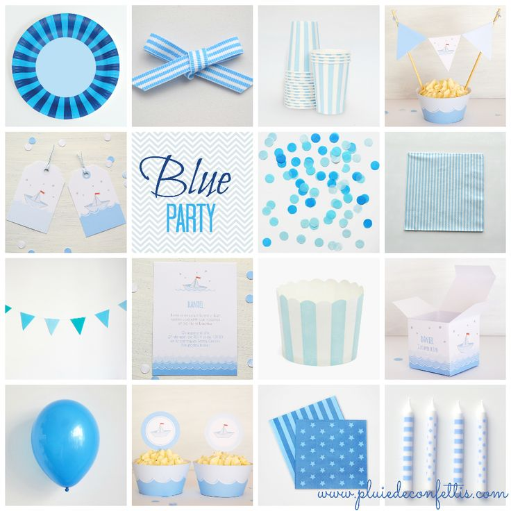 Blue party products on www.pluiedeconfettis.com