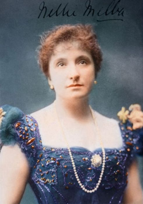 Melba, Dame Nellie, 1861–1931, Australian soprano. She made her operatic debut in Brussels in 1887. Famous for her lyric and coloratura roles, she sang regularly at Covent Garden in London from 1888 until 1926 and intermittently with the Metropolitan Opera Company in New York City from 1893 to 1910; in 1907 she performed at the Manhattan Opera House and also made appearances in Australia and many other parts of the world. She was made Dame of the British Empire in 1918.