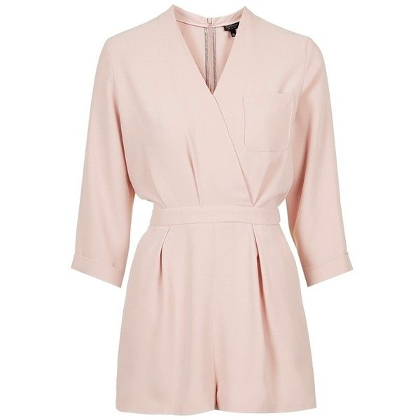 Topshop Wrap Front Romper (£62) ❤ liked on Polyvore featuring jumpsuits, rompers, jumpsuit, romper, playsuit jumpsuit, cream jumpsuit, romper jumpsuit, pink jumpsuit and topshop rompers