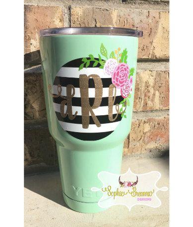 Striped floral monogram decal floral monogram sticker custom tumbler vinyl sticker yeti