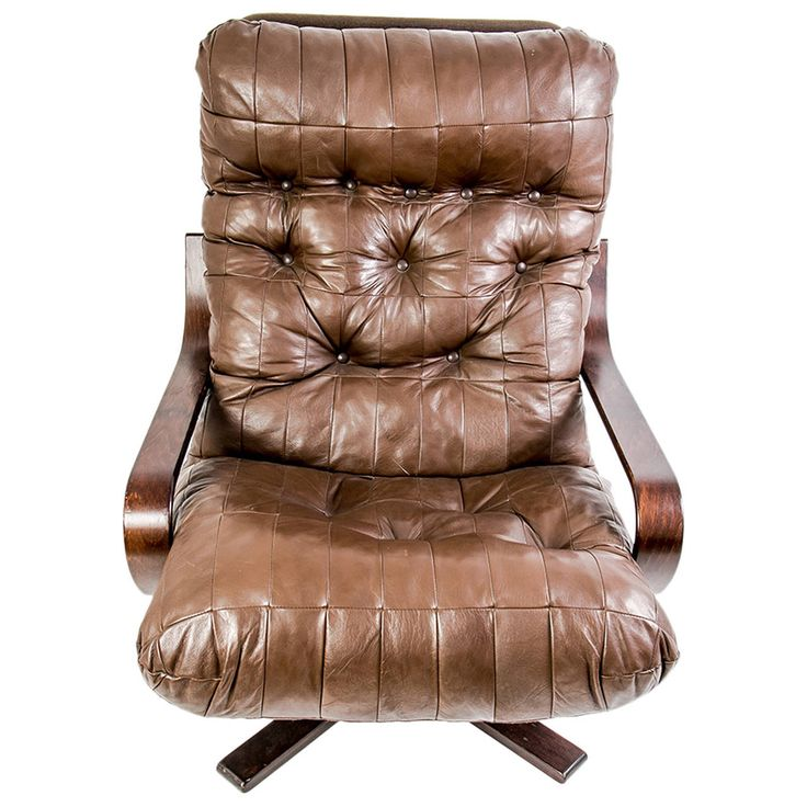great danish brown leather armchair circa