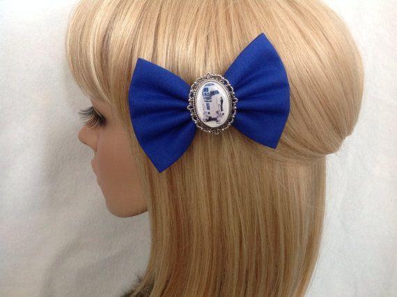 Star Wars R2D2 hair bow clip rockabilly by GrimAndProperDesigns