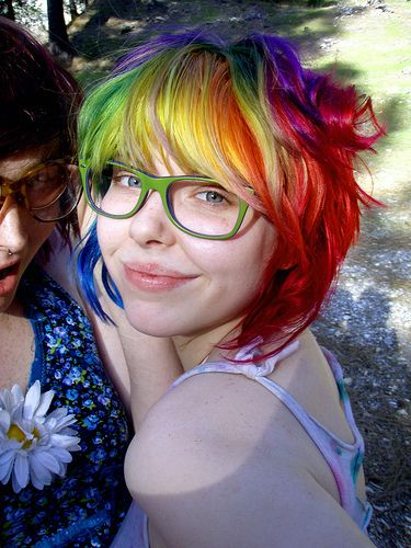 rainbow hair and green glasses via Hair Colors Ideas