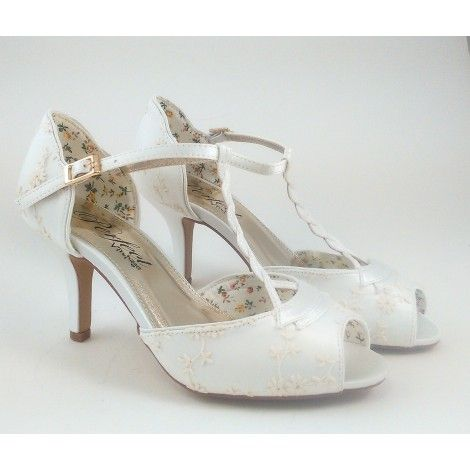 Winnie By The Perfect Bridal Shoe Company Ivory Vintage Lace T Bar Wedding Or Occasion