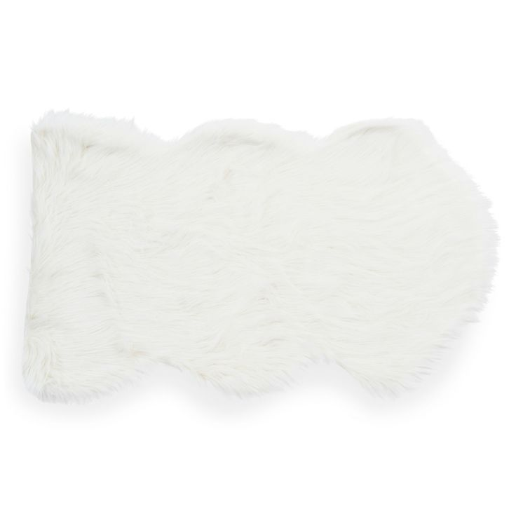 Tapis en fausse fourrure blanc 60 x 100 cm Tapis fausse