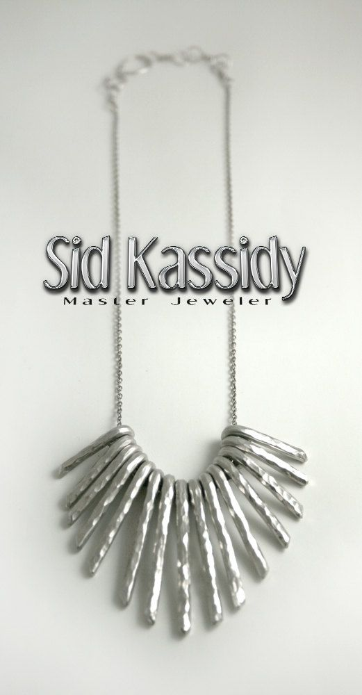 Sterling Silver Fringe Necklace Geometric Statement by SidKassidy, $79.00