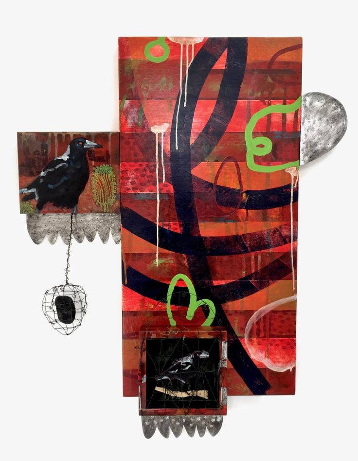"""Ateleir de Joie Meeting Places -Magpie"""" Mixed media on wood panels, including image transfer $1250 The places we see and meet magpies and the mystery behind the power of this beautiful and cheeky Australian bird"""