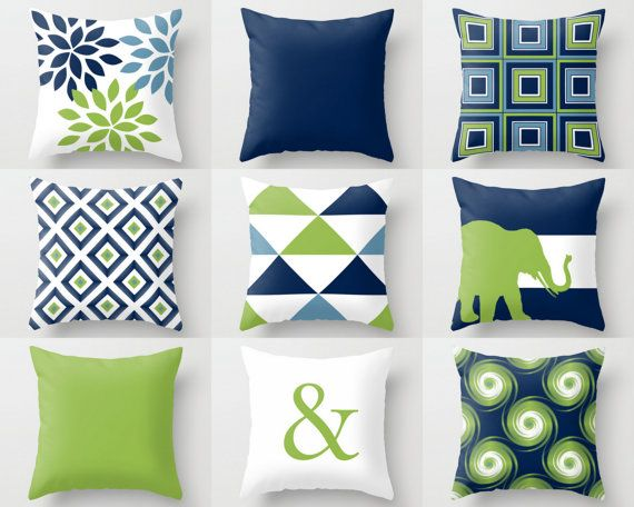 Throw Pillow Covers Navy Blue Green White Stone by HLBhomedesigns