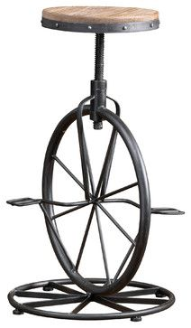Charles Bicycle Wheel Adjustable Bar Stool   Industrial   Bar Stools And  Counter Stools   Great Deal Furniture