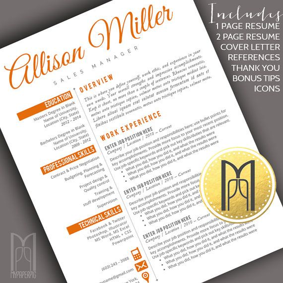 Resume Template and Cover Letter Template | Professional Creative Modern Resume Template | WORD | DIY Printable 4 pk |Instant Download No.12
