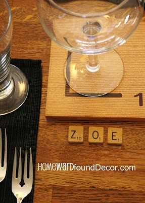 Play around with your Thanksgiving table decor - use game pieces! from HOMEward Found Decor