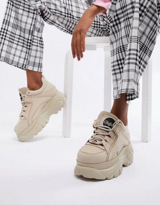 c5e7e79e3 Buffalo London classic low top platform chunky sneakers in cream in ...