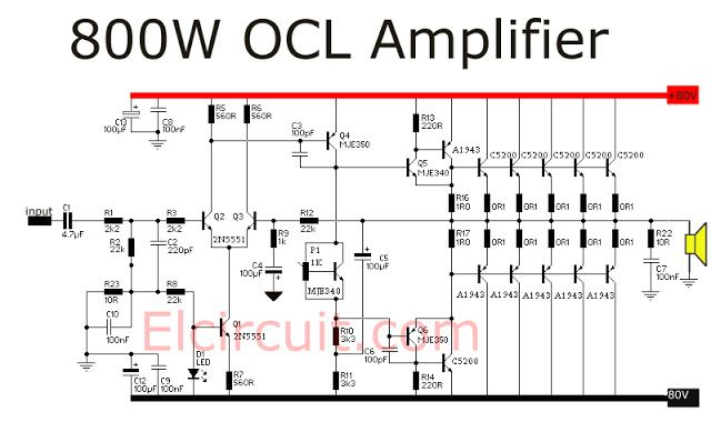 800 watt power amplifier ocl audio schematic pinterest tech electronic engineering and. Black Bedroom Furniture Sets. Home Design Ideas