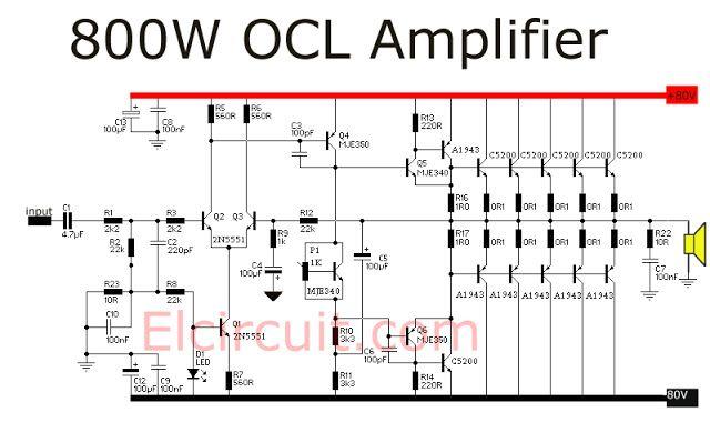 800 Watt power amplifier OCL