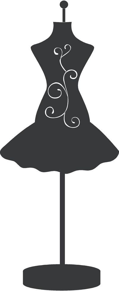 Maniquí con vestido, silueta. Silhouette.                                                                                                                                                                                 Más