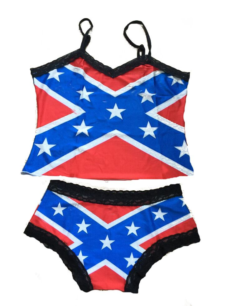 Rebel Flag Camisole and Boy Shorts Lingerie - Panties Underwear