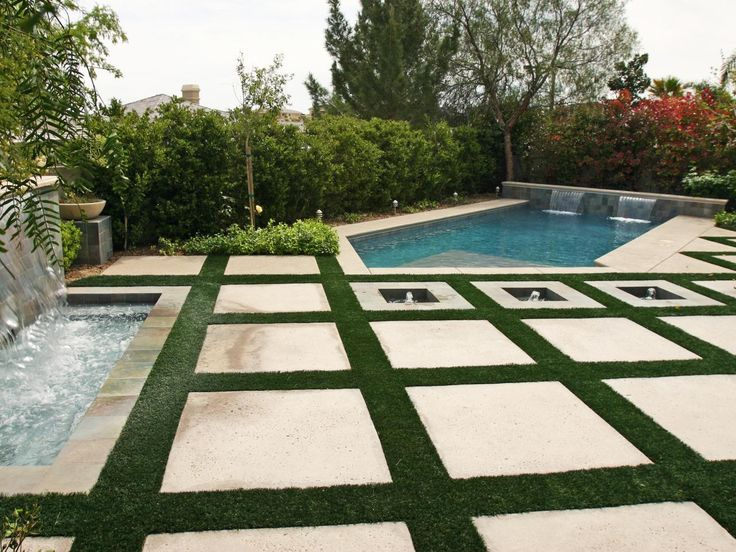 8 best images about grass squares on pinterest Flagstone pavers around pool