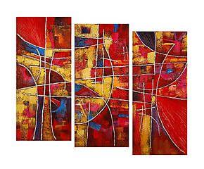 Composizione di 3 dipinti su tela astratti Diamond - tot. 90x120 cm