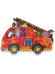 Fire Engine Alphabet: Handcrafted Traditional Wooden Puzzle from Alphabet Jigsaws