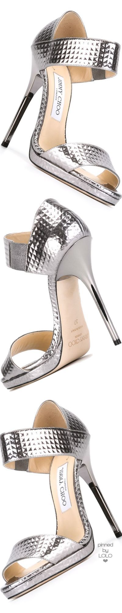 Jimmy Choo ~ Lee SIlver Metallic Sandal Heels