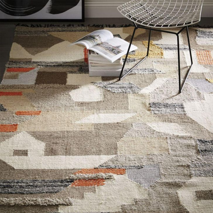 West Elm Art Kilim Wool Rug With A Textural Mix Of Felted Wool Flat Yarn And
