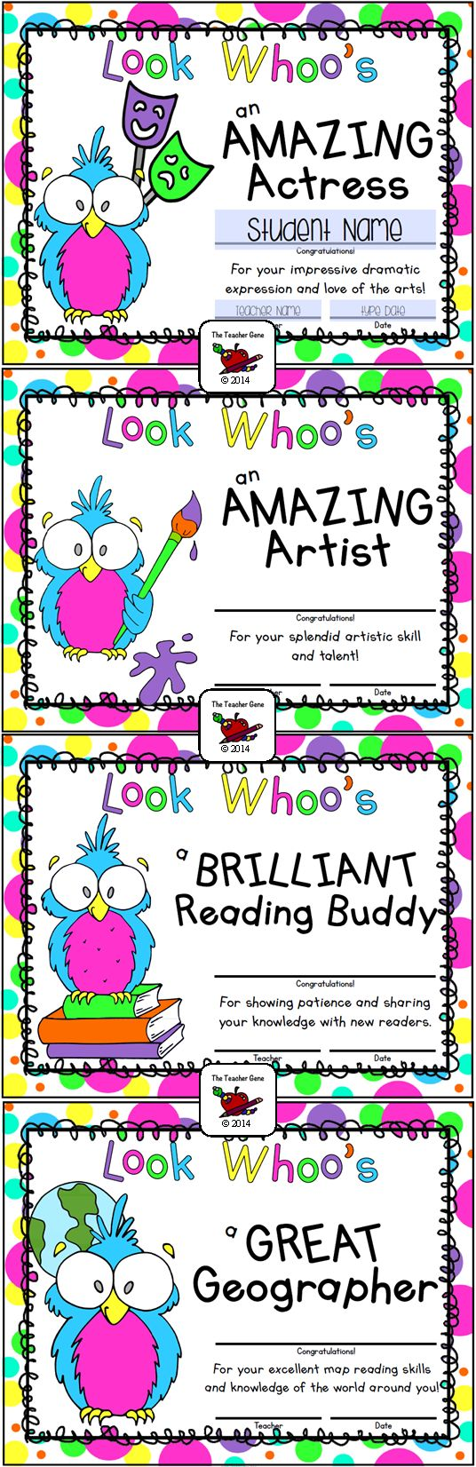 Love these bright and colorful Owl End of Year Awards! Such a fun way to celebrate a successful school year! They are editable too! ($)