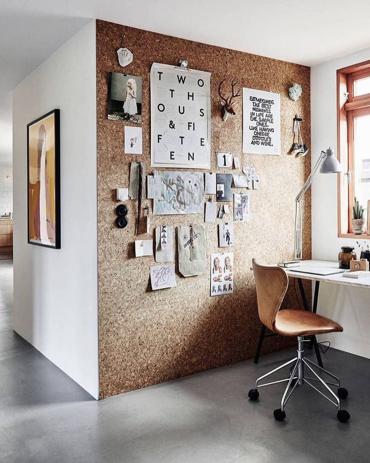 Cork Board Wall In Office With Images Home Office Design