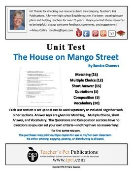 15 best tests assessments for literature novels plays images unit test for the house on mango street fandeluxe Choice Image
