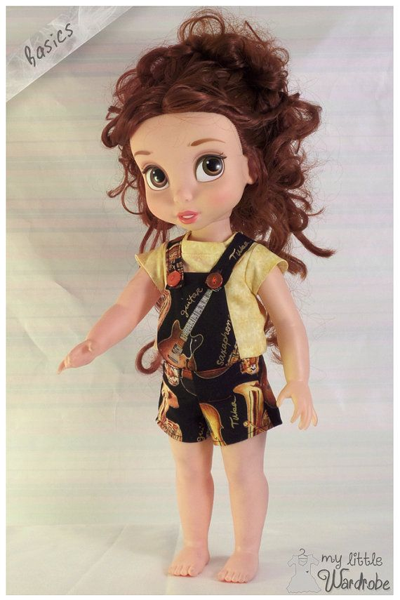 Disney Animator doll Clothes - Overalls and shirt yellow and musical guitar pattern - Basics