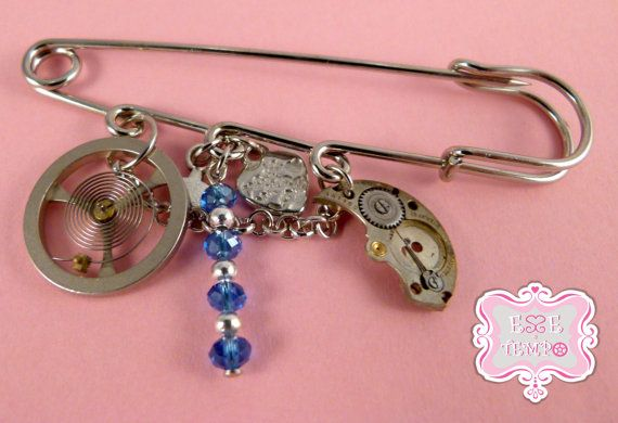 Steampunk large safety pin brooch with watch charms by EsseeTempo