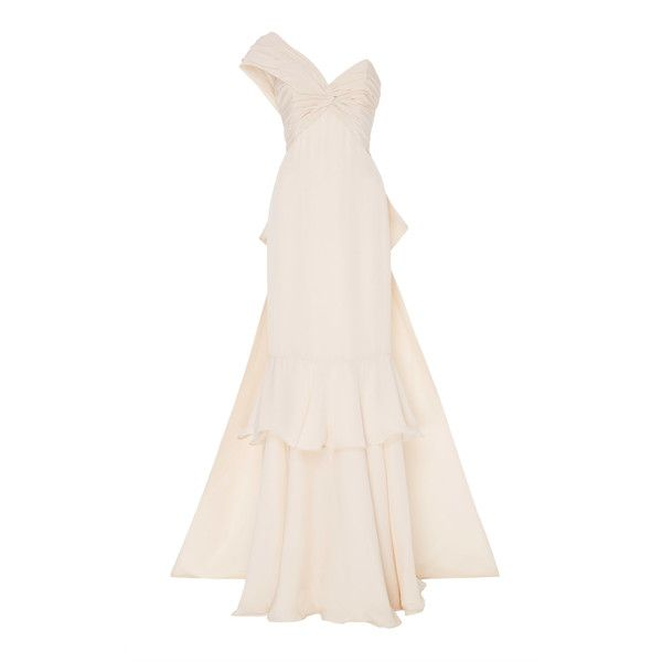 M'O Exclusive Antes Del Amanecer Dress | Moda Operandi ($10,270) ❤ liked on Polyvore featuring dresses, gowns, bridal, johanna ortiz, ruffle hem dress, one shoulder ruched dress, shirring dress, pink bridal dresses and one shoulder dress