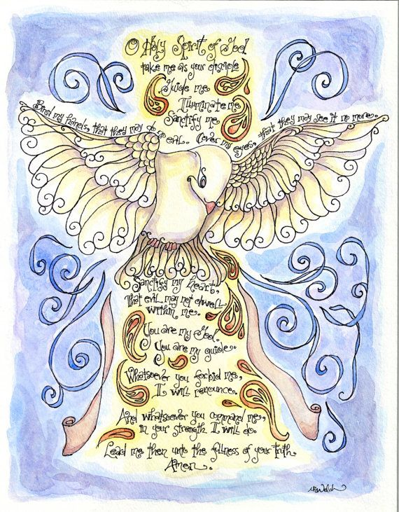 59 best nt holy spirit images on pinterest catholic children holy spirit prayer with dove personalized confirmation gift 11x14 art print contemporary negle Choice Image