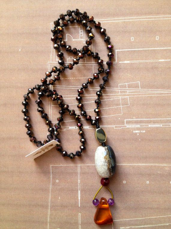 Gold Brown Crystals Rosary Statement Necklace, with Gold Brown Crystals, Gold Hematite, Agate, Ruby Agate, Amber and Amethyst