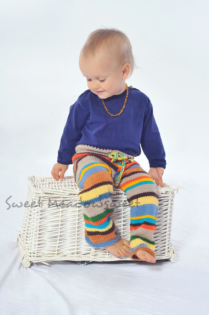 Childrens hand knitted wool pants, trousers for girls / boys, Multicolor Stripes Blue, green, Yellow, brown - toddler, baby, MADE TO ORDER. $38.00, via Etsy.
