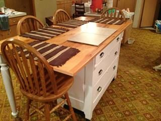 We decided to create a kitchen island from one of my childhood memories: my mom's dresser. Here are the details of our first project advent...