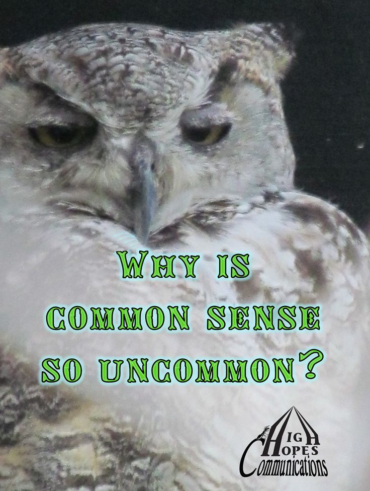 Why is common sense so uncommon? www.highhopescommunications.ca