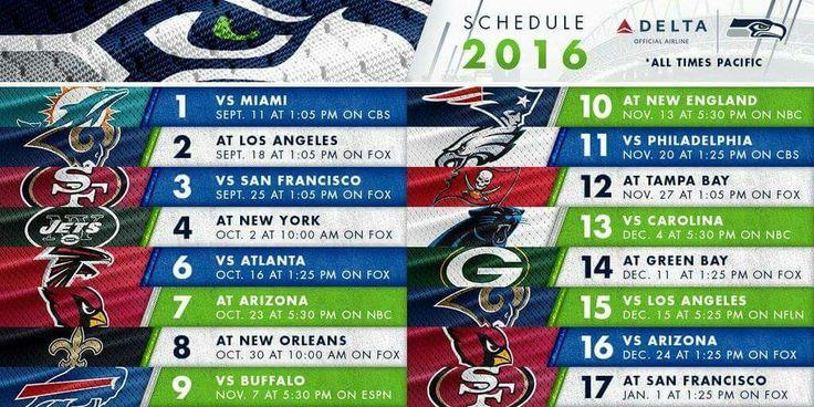 2016 Seahawks Schedule #SeahawksRawk