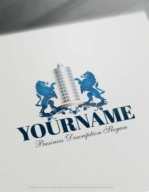 Create a logo Free - Real Estate Logo design Ready madeOnline Real Estate Logo design decorated with Buildings and lionslogo image. Real Estate logos excellent forArchitect, Construction, Contractor, Properties realtyAgencyetc. How to design alogo online? 1- Create a logo with our free logo maker tool -Change you company name, slogan, colors & fonts. 2- Like your design? Buy