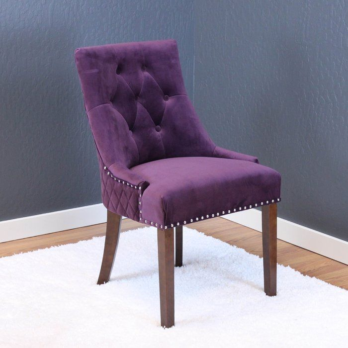 The Mesita Velvet Parsons Chair feature button tufted Dutch velvet upholstery and durable wood construction. These chairs are extremely sturdy and comfortable. They come in an assortment of colors with chrome nail head trim and are a great transitional style.