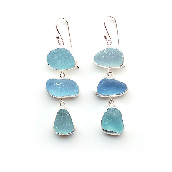 These are prob my favorite! Pale Blue Sea Glass Earrings by Tania Covo