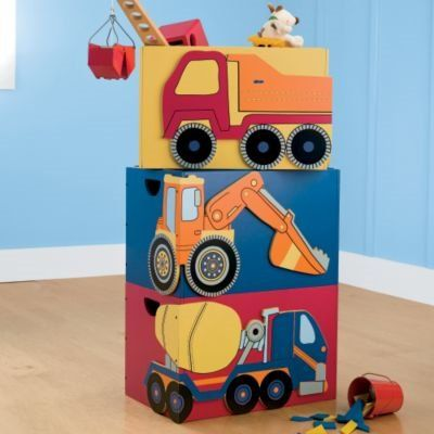 Construction Vehicle Stackable Storage Bins - Kids Decorating Ideas