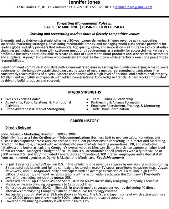 sales resume template sales marketing and business development