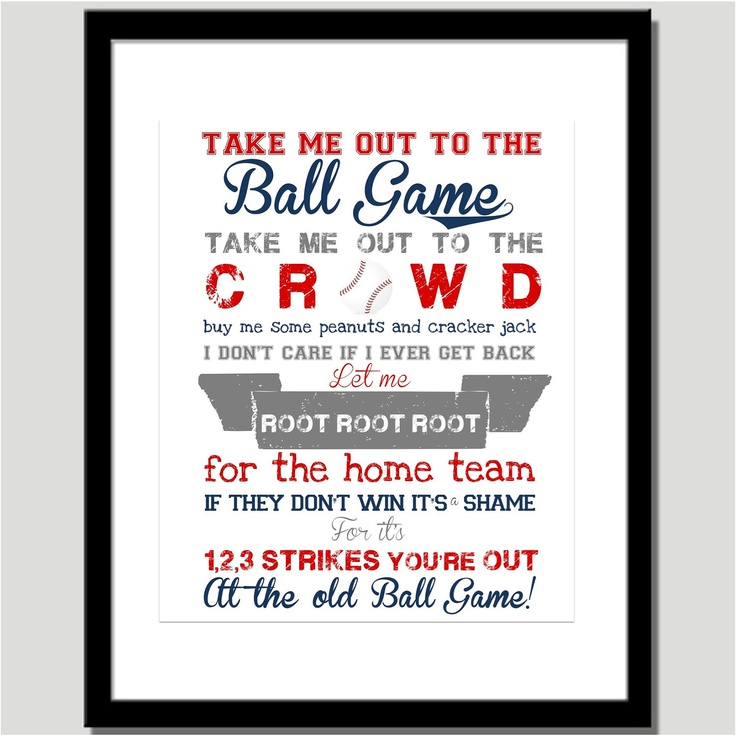 Take Me Out To The Ballgame Print Nursery Art By CoCo Stine Designs Baseball