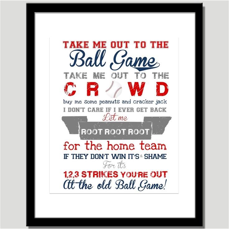 Take Me Out to the Ballgame Print Nursery Art by CoCo Stine Designs #baseball #kids #print: Ballgam Prints, Baseb Bedrooms, Prints Nurseries, Baseball Bedrooms, Kids Rooms Art, Nurseries Art, Baby Rooms, Big Boys Rooms, Baseball Rooms