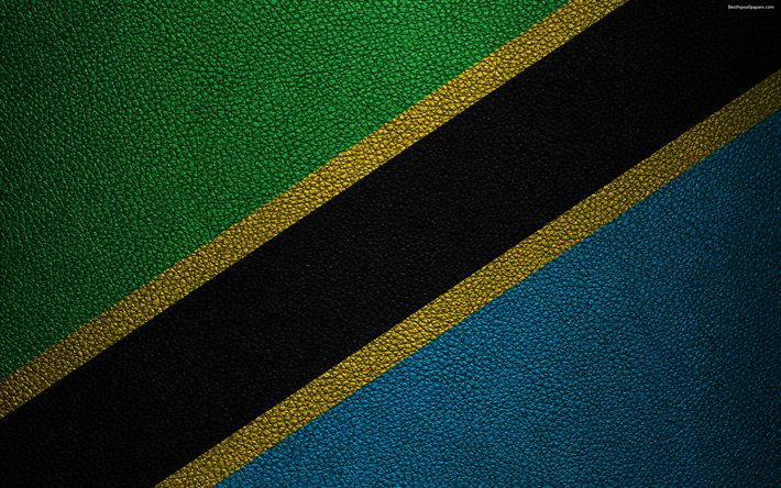 Download wallpapers Flag of Tanzania, Africa, 4K, leather texture, Tanzanian flag, flags of Africa, Tanzania